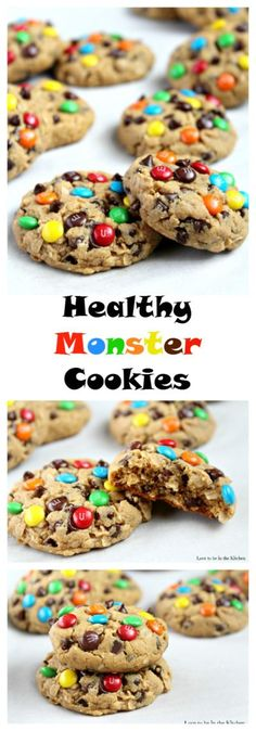 A soft and delicious healthy Monster Cookie made with peanut butter, oats, mini chocolate chips and topped with colorful mini MM's. There's no butter, oil or flour in these cookies! Healthy Cookies, Healthy Baking, Healthy Desserts, Delicious Desserts, Yummy Food, Delicious Cookies, Eat Healthy, Chocolate Chip Cookies, Brownie Cookies