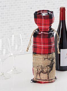 Un sac à bouteille de vin idéal pour les cadeaux d'hôtes   Jeu de motif tartan et de jute rustique dans l'esprit Lodge urbain pure mode de la saison   Ajustable avec sa fermeture seau sur cordon de jute coulissant à nouer   5x15 pouces