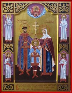 Royal Martyrs of Russia Religious Pictures, Religious Art, Church Icon, Russian Orthodox, Orthodox Icons, Russian Art, Catholic, Cathedral, Medieval