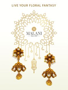This live your floral fantasy with Shop these gold now. Gemstone Jewelry, Diamond Jewelry, Gold Jewelry, Jewellery, Happy Eid Al Adha, Diwali, Gold Earrings, Jewelry Collection, Posts