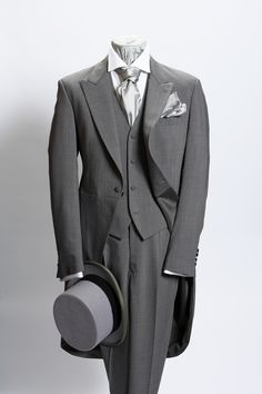 Light grey prince of wales light weight wool morning suit - click here to zoom