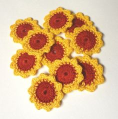 FLOWERS 10 cotton crochet red and yellow appliques