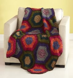 Free Crochet Pattern: Hexagon Mania Afghan. This is the perfect pattern to make my settlers of catan blanket!