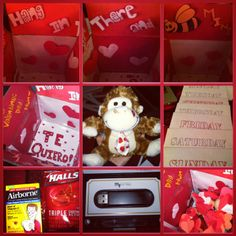 Sending your Significant Others a package for Valentines Day and don't know what to include? Here are some tips: First I used the typical red, pink and white colors for the whole thing. I put hearts all around with a piece of rolled up tape in the back so they look 3D. Also a cute stuffed animal, I sent a letter for him to open one each day of the week in which I wrote a different memory in each. A mix-tape (actually a USB which I bought on Amazon http://amzn.com/B00A9Q0CHQ) #MilSO #USAF