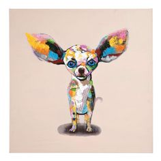 Kare 80 x 80 cm Chihuahua Standing Oil Painting Chihuahua Art, Chihuahua Drawing, Chihuahua Tattoo, Animal Paintings, Animal Drawings, Drawing Animals, Dog Face Drawing, Dachshund, Tableau Design