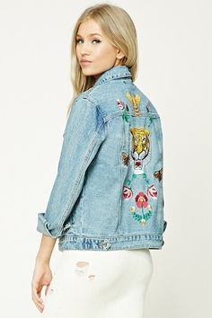 Tiger Embroidery Denim Jacket