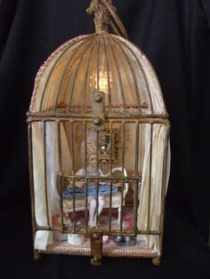 Stunning Vignette, Marie Antoinette in a Bird Cage 12th scale Miniature OOAK Art Doll with furniture and accessories  by IGMA Artisan. £320.00, via Etsy.