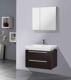 "AQUA DECOR Orion 31"" Modern Bathroom Vanity Set - Wenge"
