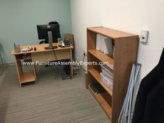 target office desk and bookcase by prepac assembled for the washington DC Department of Human Services by Furniture Assembly Experts LLC