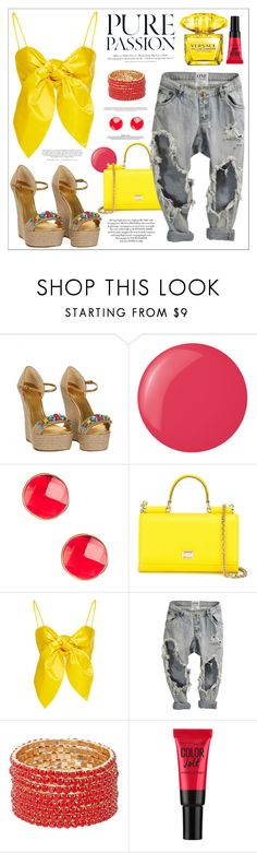"""""""A girl like me"""" by teryblueberry ❤ liked on Polyvore featuring Gucci, Essie, Vanhi, Dolce&Gabbana, H&M and Versace"""