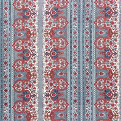 Digby's Tent in Pomegranate from Brunschwig & Fils #fabric #linen #cotton #red #blue