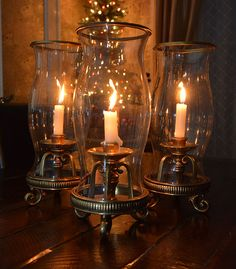 holiday decor with hurricane lamps