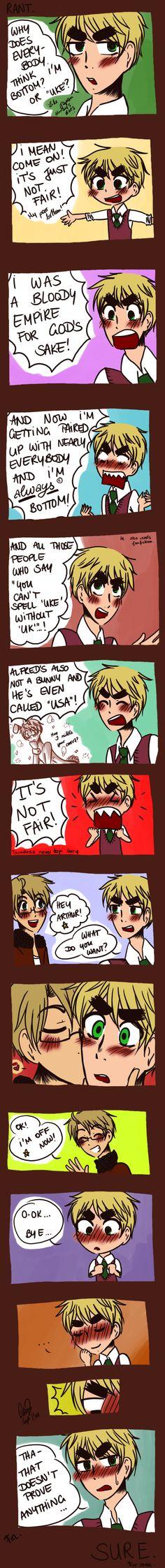 ARTHUR'S RANT. by ~TheGweny - Hehehe  I don't like USUK (It'd be better if it were FrUK) but it's still a cute comic