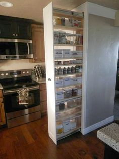 s add more pantry space with these brilliant hacks, closet, Install a pull out pantry in your wall