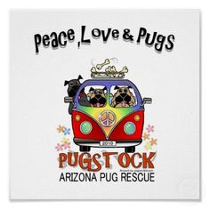 Pugs and Volkswagen Buses! Pug Love, I Love Dogs, Pugs, Pug Illustration, Boston Terrier Pug, Pug Cartoon, Pet Pug, Pug Rescue, Black Pug