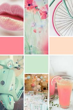 Moodboard Dreams of Spring (rose, mint green and peach) - perfect inspiration for brand design or colour palettes!Midweek Moodboard Dreams of Spring (rose, mint green and peach) - perfect inspiration for brand design or colour palettes! Colour Schemes, Color Trends, Colour Palettes, Pastel Colour Palette, Pastel Colours, Color Combinations, Pantone Cards, Aesthetic Header, Use E Abuse