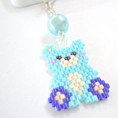 Dust Plug Cell Phone Charm Brick Stitch Kawaii Bear by BeadCrumbs