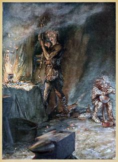 The forging of Nothung. Arthur Rackham, from Siegfried & The twilight of the gods, by Richard Wagner, London, 1911.