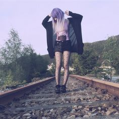 @milkwhore - instagram, purple hair, white tips, cardigan, stockings, black, adventure time t, boots, train tracks