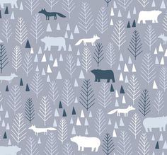 Woodland Crib Bedding, Fitted Crib Sheet or Changing Pad Cover, Blue and Grey Bedding, Woodland Nursery Bedding, Dear Stella The Big Chill by PreciousandPink on Etsy