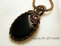 Black onyx necklace Antiqued Copper wire by MadeByMyLeftHand