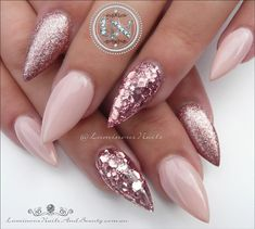 """If you're unfamiliar with nail trends and you hear the words """"coffin nails,"""" what comes to mind? It's not nails with coffins drawn on them. It's long nails with a square tip, and the look has. Pink Glitter Nails, Rose Gold Nails, Glitter Lipstick, Hot Nails, Hair And Nails, Holiday Nails, Christmas Nails, Luminous Nails, Trendy Nails"""