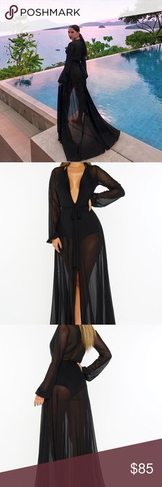 Amber Scholl Duster Cover Up Robe Black Princess As seen on amber scholl in tan but this one is black. size XL, Model is 5'9  can be used as a cover up for the beach or duster for a night out or robe over sexy lingerie. very versatile piece. want my look Intimates & Sleepwear Robes