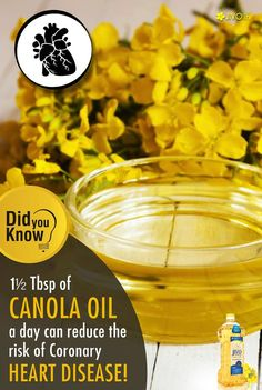 ‪#‎DidYouKnow‬ ‪#‎JivoCanolaOil‬ According to the FDA, 1½ Tbsp of canola oil a day may reduce the risk of coronary heart disease when used instead of saturated fat. Share & Spread!