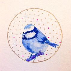 ORIGINAL Watercolor Painting - Blue Tit Bird Art with Gold Border and Polka Dots Hipster Mini Painting