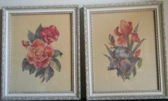 SOLD- Vintage lot of 2 Ann Cochran framed Litho Flower Paper Printed by Henry Sandler #Realism