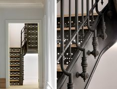 A new cast-iron staircase with perforated risers and wood treads, designed by Charlotte Worthy Architects and fabricated by Covax Design, leads to a sunroom in the attic. Restoring Original Prewar Charm - The New York Times Modern Staircase Railing, Staircase Contemporary, Iron Staircase, Staircase Remodel, Staircase Design, Handrail Ideas, Staircase Ideas, Traditional Mosaic Tile, Cast Iron Railings