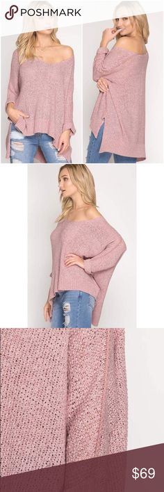 """🆕Natalie Netted Knit Sweater in Misty Pink The Natalie sweater is adorable in a netted knit fabrication that's relaxed in fit and stretches with ease! The 3/4 sleeves on this sweater fold over for the perfect touch. Sport this with Distressed boyfriend denim  for the complete look!   Cuffed Kimono Sleeves 26"""" from neckline to hemline 100% Acrylic Model is 5'7"""" and item is ONE SIZE Also available in Mocha and Charcoal (Listed Separately) A Mermaid's Epiphany Sweaters"""