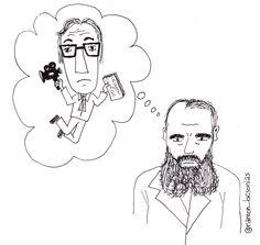 Un 9 de febrero de 1881 fallecía #Dostoyevski. Es imaginable que #WoodyAllen sueñe con Dostoyevski, ¿pero en su sueño eterno lo hará él a su vez con Allen? Cualquier cosa es posible si lo puedes dibujar. #doodle #ilustración