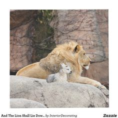 And The Lion Shall Lie Down With The Lamb Cube Lion And Lamb, Photo Cubes, Images And Words, Rustic Charm, Custom Posters, Wood Paneling, Wood Art, Custom Framing, Art Pieces