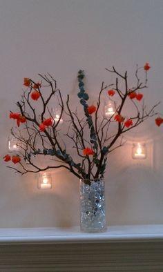Trial run centerpiece Manzanita with hanging votives ?? :  wedding centerpieces diy eucalyptus hanging votives manzanita orange reception teal IMAG0055 359x600 239x400