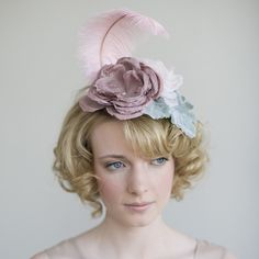 pink and dusty green bridal mini hat