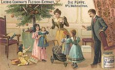 Free Dolls Clip Art - Children With Doll and Toys at Victorian Christmas