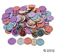 """Give these 1 plastic metallic coins to kids as classroom rewards when they're """"caught being good. Let students trade these play coins for . Classroom Incentives, Behavior Incentives, Behavior Management, Classroom Management, Classroom Organization, Caught Being Good, Reward System For Kids, Token Economy, Teaching Supplies"""