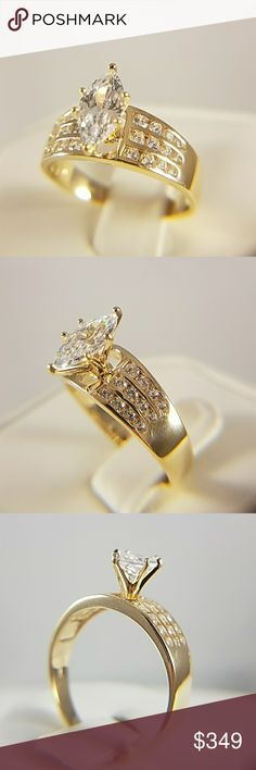 14k Solid Yellow Gold 2ct Engagement Ring 2ct Marquise man made Diamond/ Cubic Zirconia Center stone  Available in sizes 5 6 7 8 9 10 Jewelry Rings