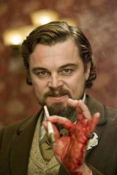 Leonardo DiCaprio as the mustache twirling villain in Django Unchained.  Awesome movie.  Love story told Quentin Tarantino style.