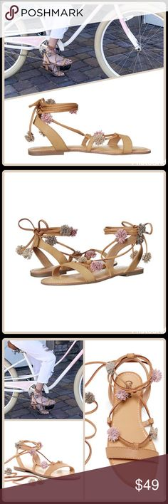"""🆕 """"POM-POM"""" GHILLIE WRAP SANDALS Lace up and look chic in these Pom Pom Flat Sandals ▪️Open toe ▪️Banded vamp with lace-up and ankle wrap ghillie ties ▪️Faux leather pompom accents ▪️Lightly padded footbed ▪️Grip sole ▪️Fits True to size  🛍 2+ BUNDLE=SAVE  🚫TRADES🚫HOLDS🚫MODELING  💯 Brand Authentic  ✈️ Ship Same Day--Purchase By 2PM PST  🖲 USE BLUE OFFER BUTTON TO NEGOTIATE   ✔️ Ask Questions Not Answered In Description--Want You Yo Be Happy! Carlos Santana Shoes Sandals"""