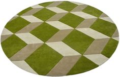 """A custom hand tufted pure wool rug in green, white and tweed. It has a pile depth of 12-14mm. Created using the """"Playtime"""" design. #CustomRugRoom"""