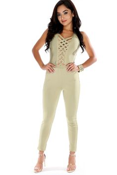 Wear this sexy bandage jumpsuit to your next upcoming event. The features includes a bold color, sleeveless, caged detail,  hidden back zipper closure, and finished off with a curve hugging fit.