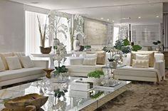 decoracao sala branco e espelho