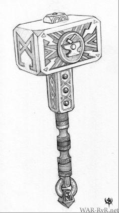 Warhammer Online: Age of Reckoning - Artwork Hammer Tattoo, Thor Tattoo, Fantasy Dwarf, Medieval Fantasy, Warhammer Dwarfs, Warhammer Online, Symbole Viking, Weapon Concept Art, Norse Tattoo