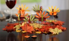 Factory Direct Craft Set of 6 Warm Autumn Painted Metal Turkey Tealight Candle Holders & 120 Package Autumn Leaves