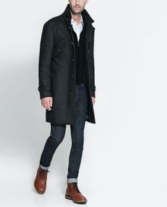 Coat with knit detailing from Zara Mode Mantel, Herren Outfit, Armani Men, Zara Man, Good Looking Men, Men Looks, Stylish Men, Well Dressed, Autumn Fashion