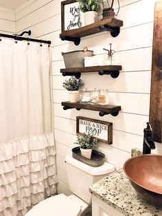 A rustic bathroom is something that creates a relaxing atmosphere very easily. best collection build a bathroom vanity. we continue sharing some ideas about build a bathroom vanity design. click the images for more details Rustic Bathroom Decor, Bathroom Interior, Modern Bathroom, Farmhouse Decor, Small Bathroom Decorating, Country Chic Decor, Rustic Bathroom Shelves, Bohemian Bathroom, Neutral Bathroom