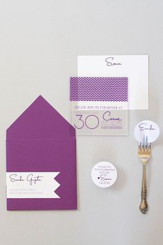 Acrylic doesn't have to be just for wedding. It would make a fabulous rehearsal dinner invitation or shower invitation too. For our client Seema, we designed chevron birthday party invitations on acrylic. The small acrylic birthday invitation was sent in a cardstock envelope with address label wraps shaped like chevron! Click through to see more acrylic wedding stationery ideas of pin for later.