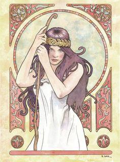 Art Nouveau 03 Original Watercolor by Scott Christian Sava